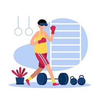Homem fazendo esportes no ginásio virtual