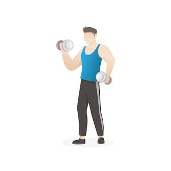 Homem, fazendo, exercício, com, dumbbells