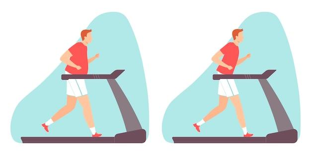 Homem fazendo exercícios aeróbicos em uma esteira rolante homem gordo e magro. ilustração em vetor em estilo simples