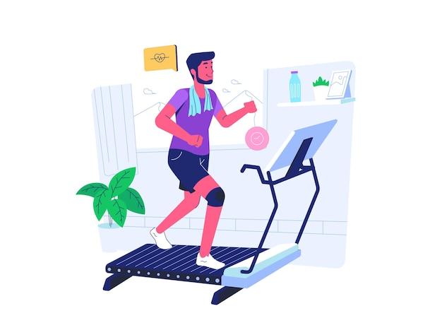 Homem fazendo exercícios de corrida durante covid19 situação de pandemia estilo cartoon plana