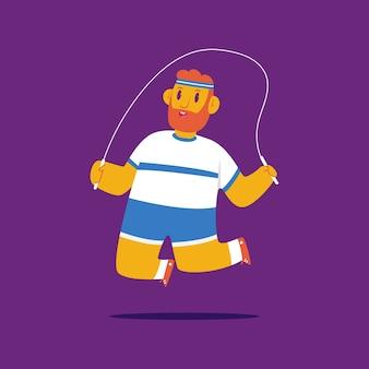 Homem fazendo exercícios de fitness com o personagem de desenho animado pular corda isolado no fundo.