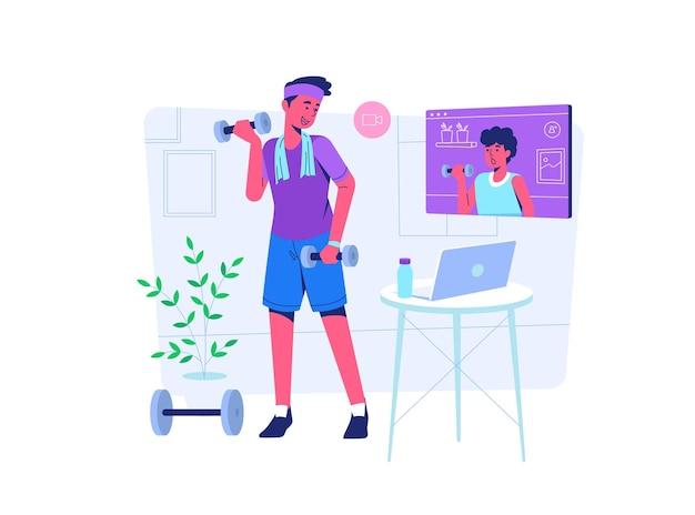 Homem fazendo exercícios de ginástica com seu mentor on-line durante covid19 situação de pandemia estilo cartoon plana