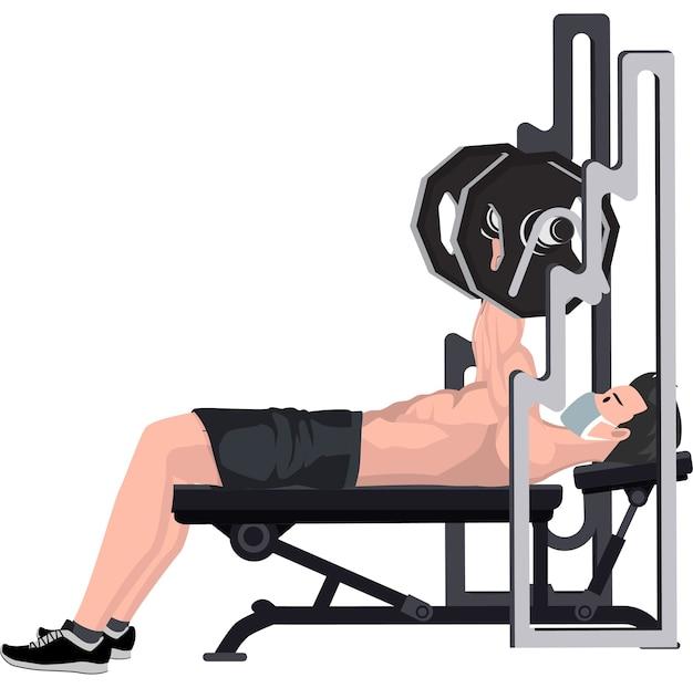 Homem fazendo exercícios físicos usando supino na academia