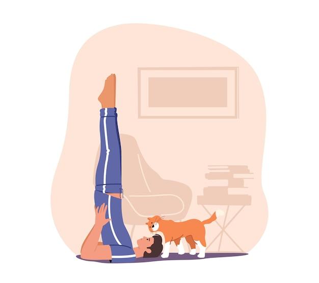 Homem fazendo exercícios matinais em casa
