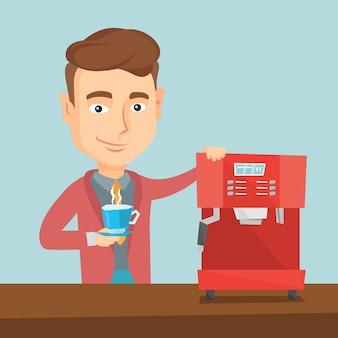 Homem fazendo ilustração vetorial de café.