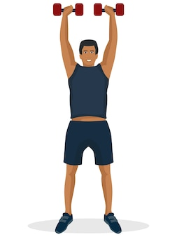 Homem, fazendo, malhação, usando, dumbbell, em, um, ginásio
