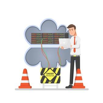 Homem fazendo manutenção do servidor