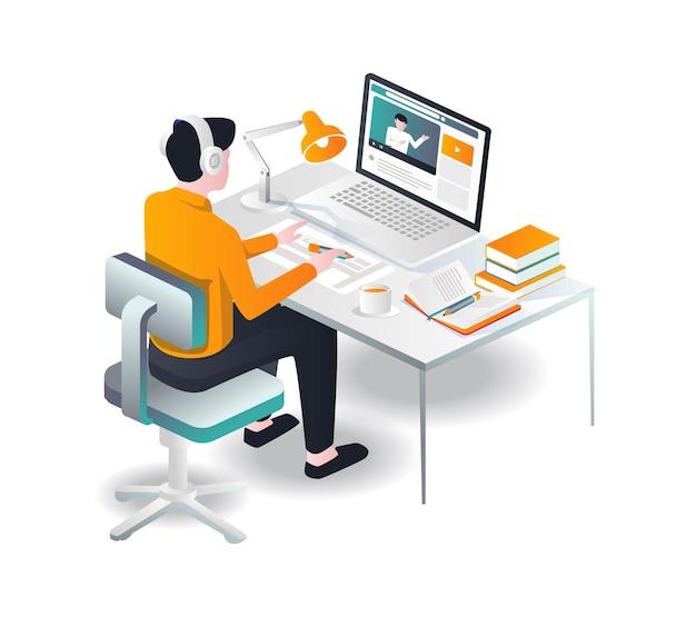 Homem fazendo o conceito de trabalho na frente do computador com tutorial