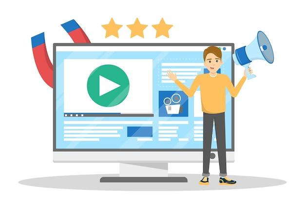 Homem fazendo promoção de blog de vídeo. publicidade de conteúdo