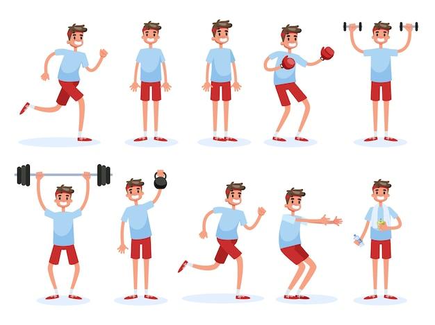 Homem fazendo vários exercícios de esporte definido. treinamento