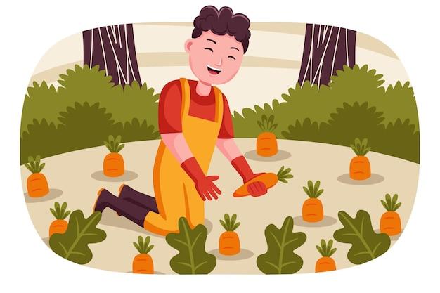 Homem feliz agricultor colhe cenouras no jardim.