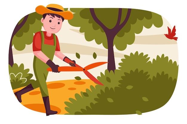 Homem feliz agricultor cortando plantas no jardim.