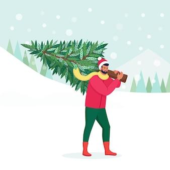 Homem feliz carregando a árvore de natal no ombro. pessoa com chapéu de papai noel, preparando-se para a celebração do feriado. feliz natal e feliz ano novo