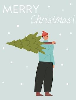 Homem feliz carregando árvore de natal