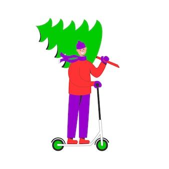 Homem feliz carregando uma árvore de natal e andando de scooter elétrica se preparando para as férias de inverno