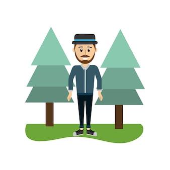 Homem feliz com estilo de chapéu e roupas