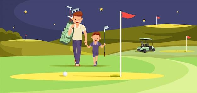Homem feliz com golfistas filho caminhando em golf perfeito