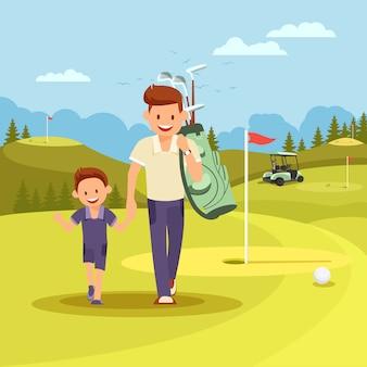 Homem feliz com o saco dos clubes que conduz o menino para jogar o golfe.