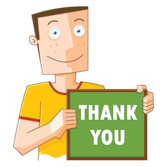 Homem feliz com placa de agradecimento