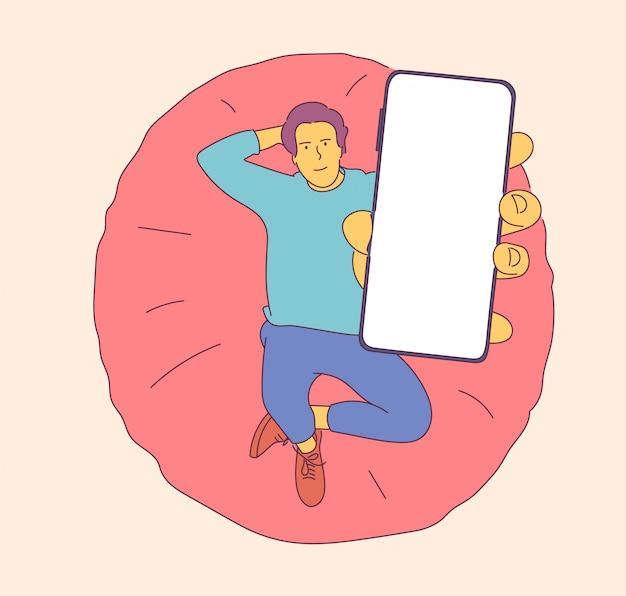 Homem feliz com smartphone. promoção de demonstração de dispositivos tecnológicos inovadores. mão-extraídas ilustrações de estilo.