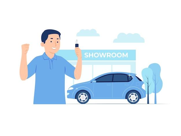 Homem feliz comprando um carro novo em ilustração de conceito de showroom