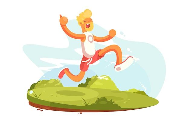 Homem feliz correndo em roupas esportivas. cara sorridente na corrida matinal f