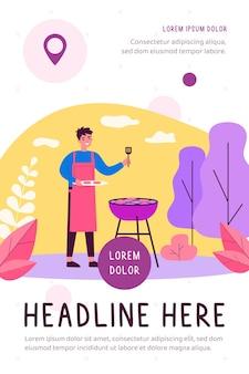 Homem feliz cozinhando carne de churrasco ilustração plana ao ar livre