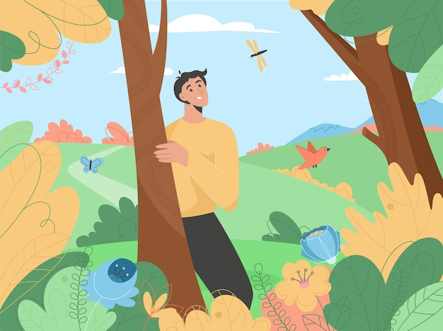 Homem feliz curtindo a natureza no jardim de flores e plantas florescendo