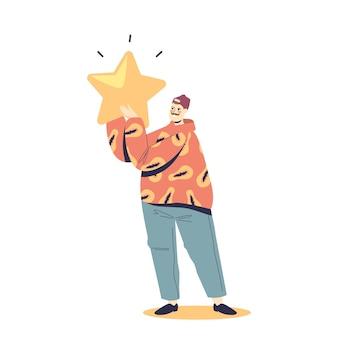 Homem feliz, dando revisão ao serviço ou aplicativo, segurando uma estrela de classificação dourada. serviço de classificação de cliente satisfeito. conceito de sistema de revisão de feedback de usuário, consumidor ou cliente. ilustração em vetor plana dos desenhos animados