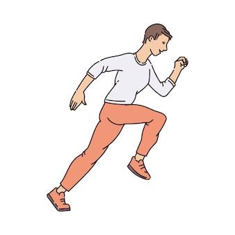 Homem feliz dos desenhos animados em pose de corrida isolada na superfície branca - jovem corredor fazendo exercícios esportivos enquanto sorri