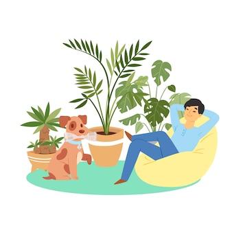 Homem feliz e cachorrinho alegre, animal de estimação, homem bonito e feliz no apartamento com seu melhor amigo, ilustração dos desenhos animados.