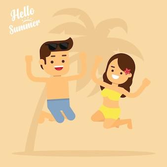 Homem feliz e mulher na praia em férias de verão, homem e mulher estão pulando na praia