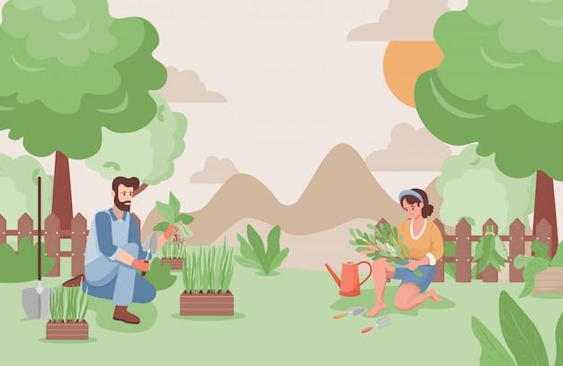 Homem feliz e mulher trabalhando no jardim em ilustração plana de verão. agricultores ou jardineiros plantando árvores.