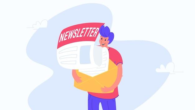 Homem feliz e sorridente abraçando um envelope com boletim informativo, inscreva-se para receber notificações e promoções mensais