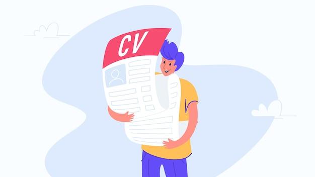 Homem feliz e sorridente abraçando um grande formulário cv preenchido. ilustração em vetor plana de pessoas à procura de emprego