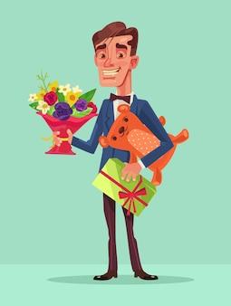 Homem feliz e sorridente segura muitos presentes. ilustração plana dos desenhos animados