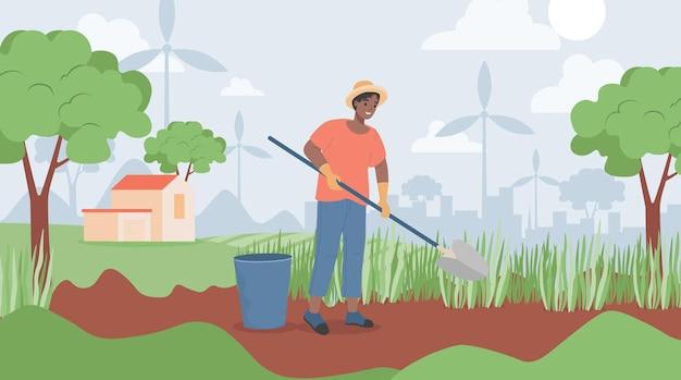 Homem feliz e sorridente segurando uma pá e cavando no jardim