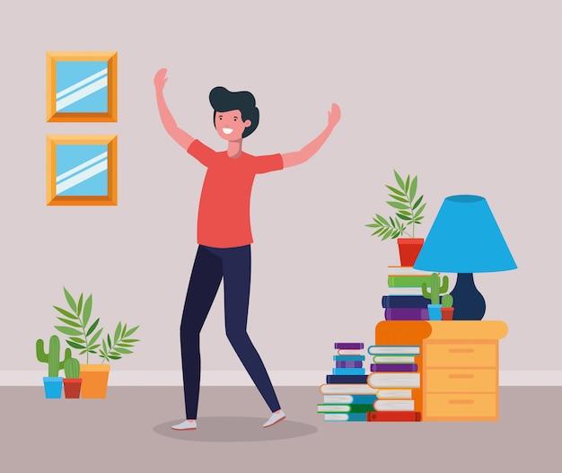 Homem feliz, em, estudo, sala