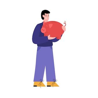 Homem feliz em pé com o cofrinho nas mãos ilustração vetorial plana isolada