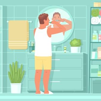 Homem feliz escova os dentes no banheiro em frente ao espelho. higiene oral. ilustração vetorial em estilo simples