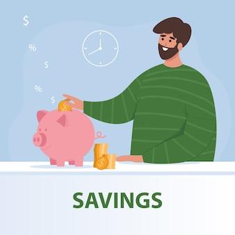 Homem feliz joga moedas em um cofrinho. conceito de economia. em estilo simples