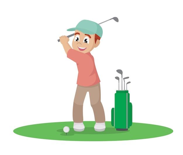 Homem feliz jogando golfe.