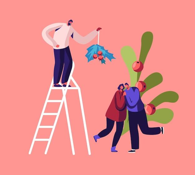Homem feliz na escada segurando o galho de visco acima, casal apaixonado, se beijando e se abraçando embaixo. ilustração plana dos desenhos animados
