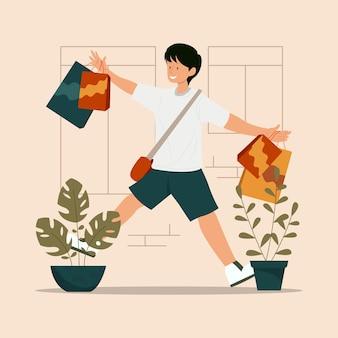 Homem feliz na frente da loja traz algumas sacolas de ilustração de mantimentos