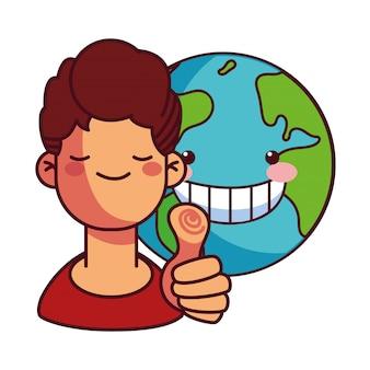 Homem feliz pela conservação da terra