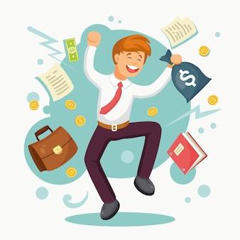 Homem feliz pulando de alegria comemora ilustração de negócio bem sucedido