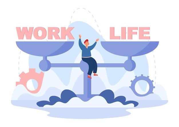 Homem feliz sentado na balança com palavras trabalho e vida