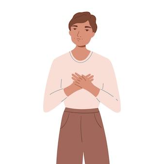 Homem feliz sorridente, segurando as mãos no peito. conceito de amor próprio e autoaceitação. o jovem mostra apoio e compreensão. ilustração plana dos desenhos animados isolada no fundo branco