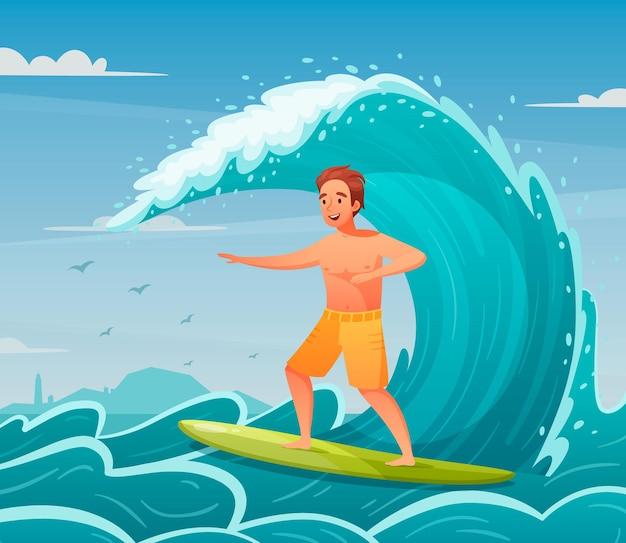 Homem feliz surfando na onda