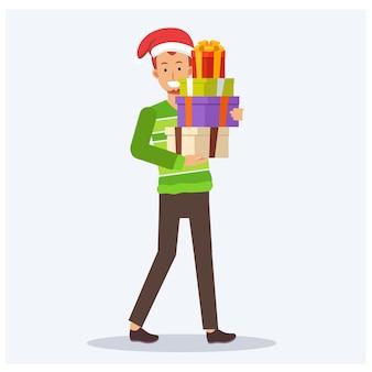 Homem feliz vestido com uma camisola e um chapéu de natal segurando presentes. estilo simples ilustração personagem dos desenhos animados.